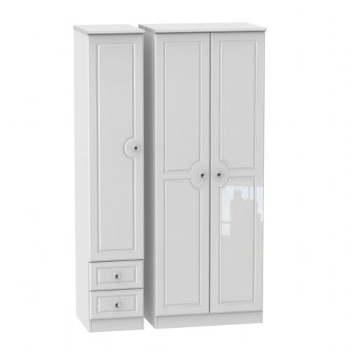 Balmoral White Gloss Tall Triple Plain and Drawer Robe